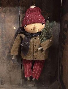 Primitive Christmas Hanging Snowman Doll ~ Handmade Liberty Creek  | eBay