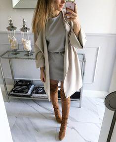 #szara, dzianinowa sukienka Mint Label #dress #ootd #look #style #fashion #set #coat #mintlabel #beige #inspiration #moda #girl #instagram…