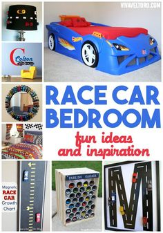 Race car bedroom idea - fun design inspiration for DIY crafts and where to buy if you're not so crafty!