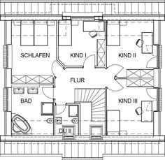Landhaus Grundriss Dachgeschoss mit 70,91 m² Wohnfläche