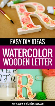 Watercolor Wooden Letter - Paper and Landscapes