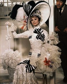 Audrey Hepburn wearing the ascot race scene dress in My Fair Lady 1964. Dress designed by Cecil Beaton