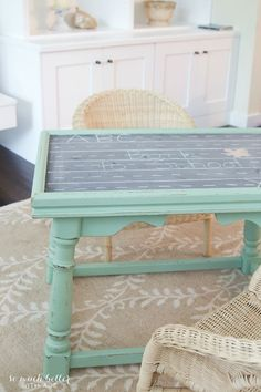 Ugly coffee table to kids' play table / transformed table on rug - So Much Better With Age Kids Craft Tables, Kids Play Table, Kid Table, Painted End Tables, Diy End Tables, Diy Coffee Table, Decorating Coffee Tables, Toddler Rooms, Kids Rooms