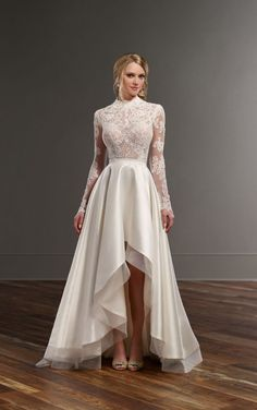 Jude Sia Illusion lace high-low skirt wedding separates by Martina Liana Hi Low Wedding Dress, 2 Piece Wedding Dress, Two Piece Gown, Wedding Skirt, Long Sleeve Wedding, Bridal Skirts, Bridal Gowns, Wedding Gowns, Dream Dress