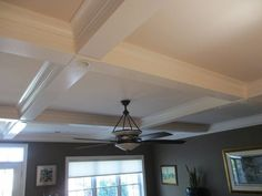 Coffer ceiling with recesses lights and the intersections