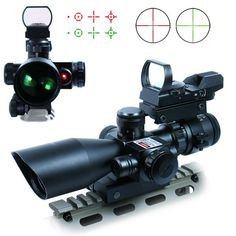 Find best price for Vokul® 3 in 1 Tactical Rifle Scope Dual illuminated Mil-dot with Red Laser w/ Rail Mount +Tactical 4 Reticle Red and Green Dot Open Reflex Sight with Weaver-Picatinny Rail Mount for 11 mm Rails+Scope Barrel Mount Hunting Scopes, Hunting Rifles, Red Dot Scope, Tactical Rifles, Tactical Scopes, Tactical Survival, Survival Knife, Airsoft Gear, Red Dot Sight