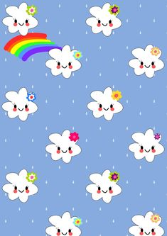 FREE printable kawaii rainbow pattern paper | girlyblue