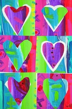 Pop Art Hearts: 2 painted papers cut into 3 squares each; heart cut from each square and mounted in negative space in another square.