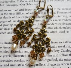 Vintage Inspired Handmade Chandelier Earrings with Swarovski Crystals and Czech Glass Beads in Pearl Topaz and Bronze Pierced or Clip On