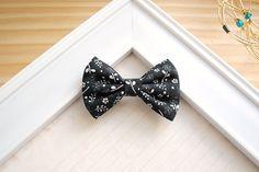 Black Floral Fabric Hair Bow  Small Fabric Hair Bow by SpunkyBunny, $4.50