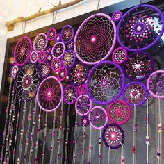 purple and violet dreamcatcher (or mandala string art ) found on https://www.instagram.com/purplebeetle/