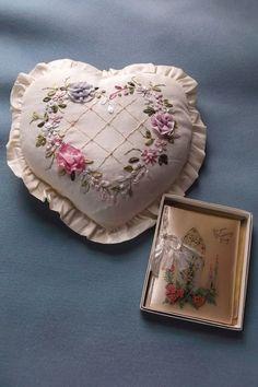 1947 Paramount Wedding Booklet  Vintage Silk Ribbon Work Heart Pillow