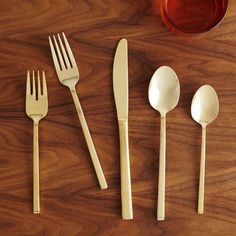 Gold Flatware, 5 Piece Set At West Elm - Flatware - Utensils - Place Settings Gold Flatware, Flatware Set, West Elm, Poached Pears, Everyday Dishes, Dinner Fork, Interior Design Kitchen, Kitchen Designs, Kitchen Ideas