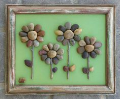 "Pebble Art, Rock Art, Pebble Art Flowers, Rock Art Flowers (four flowers), unique gift, any occasion, 8.5x11 ""open"" frame (FREE SHIPPING) by CrawfordBunch on Etsy https://www.etsy.com/listing/272246842/pebble-art-rock-art-pebble-art-flowers"