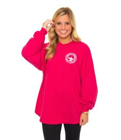 Southern Shirt Co- SSCo- Crewneck Jersey Pullover- Ultra Rose, Small. This color is beautiful and bright and would look absolutely perfect against the crystal white snow Preppy Brands, Southern Shirt Company, Sporty Outfits, Long Sleeve Crop Top, Shirt Jacket, Winter Outfits, Crew Neck, Graphic Sweatshirt, Pullover
