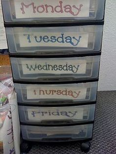 Weekly organization for lessons and copies.