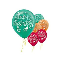 Colorful Jungle Animals Printed Latex Birthday Balloons 12 GreenOrangeRed * Click image for more details.