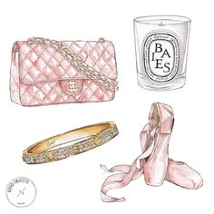 2015 - Personal commission watercolor illustrations in pale pink