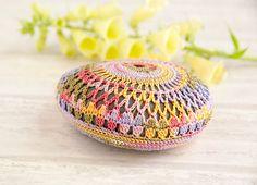 crochet lace stone // fiesta rainbow // river rock // cottage chic // Wedding decor // flower // ring bearer pillow via Etsy Crochet Stone, Crochet Yarn, Rainbow River, Stone Crafts, Cottage Chic, Yarn Crafts, Mother Of The Bride, Bunt, Painted Rocks