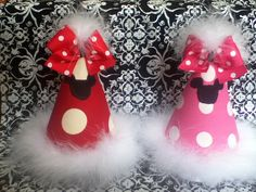 Minnie Birthday Party Hat - Mickey party hat- Minnie Party hat - Polka dots- 1st Birthday hat. $19.99, via Etsy.