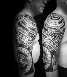 75 Half Sleeve Tribal Tattoos For Men - Masculine Design Ideas Half Sleeve Tribal Tattoos, Full Sleeve Tattoo Design, Tribal Tattoos For Men, Tattoos For Guys, Tattoos For Women, Mens Tattoos, Hawaiian Tattoo Meanings, Classy Hair, Full Sleeves Design