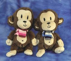 "plush CHILDREN'S PLACE MONKEYS blue & pink GIRL BOY knitted scarf 11"""