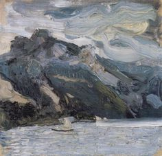 """Lake Traunsee with the """"Schlafende Griechin"""" mountain by Richard Gerstl"""