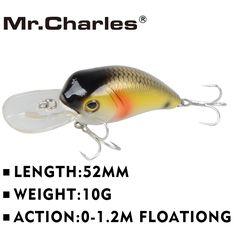 El sr. Charles CMC002 señuelos de pesca, 52mm/10g 0-1.2 m flotante surtido de diferentes colores, manivela
