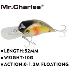 Mr. Charles CMC002 vissen lokt, 52mm/10g 0-1.2 m drijvende diverse verschillende kleuren, crank