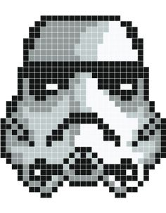 I can use this as a template / pattern for knitting - Strormtrooper pixel art - Stickaz-use for Hama beads? Crochet Pixel, Star Wars Crochet, Cross Stitching, Cross Stitch Embroidery, Cross Stitch Patterns, Pixel Pattern, Pattern Art, Hama Beads Patterns, Beading Patterns
