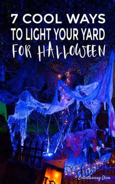 These Halloween decor ideas for outside are awesome! I love how these easy outdo… These Halloween decor ideas for outside are awesome! I love how these easy outdoor lighting can turn your yard into a cool and scary Halloween yard haunt. Scary Halloween Yard, Halloween Chic, Halloween Outside, Halloween Graveyard, Halloween Scene, Halloween Banner, Scary Halloween Decorations, Halloween Party Decor, Holidays Halloween