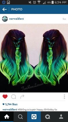 Neon hair isn't just for teenagers and anymore. With new tricks and techniques, you can wear these crazy hair colors well into your Find out how to pull off neon hair at any age. Hair Addiction, Bright Hair, Colorful Hair, Bright Green, Dye My Hair, Cool Hair Dyed, Dyed Ends Of Hair, Coloured Hair, Cool Hair Color