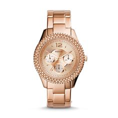 Fossil Womens Stella Rose GoldTone Stainless Steel Bracelet Watch * Read more at the image link. (This is an affiliate link) Stainless Steel Watch, Stainless Steel Bracelet, Online Watch Store, Online Shopping, Fossil Watches, Women's Watches, Smartwatch, Quartz Watch, Gold Watch