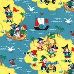 Get a free swatch of Pirate Fabric, Boys Fabric, Childrens Fabric