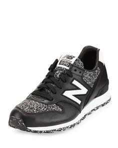 696 Metallic Detailed Leather Trainer, Black/White by New Balance at Bergdorf Goodman.
