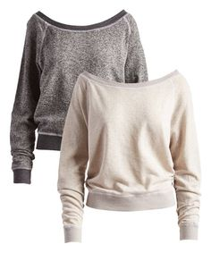 Take a look at this White & Charcoal Boatneck Pullover Set - Women today! White Charcoal, Cold Weather Fashion, New Wardrobe, Winter Wardrobe, Comfy Casual, Fall Winter Outfits, Boat Neck, French Terry, Lounge Wear