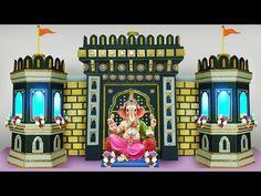 Decoration Ideas Ganpati Decoration ideas for home Flower Decoration For Ganpati, Eco Friendly Ganpati Decoration, Ganpati Decoration Design, Kalash Decoration, Diwali Decorations, Festival Decorations, How To Make Forts, Cardboard Forts, Ganesh Chaturthi Decoration