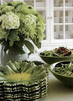 Gorgeous green hydrangeas dress the buffet table. You can't go wrong in green and white/cream. via South Shore Decorating Blog: Carolyne Roehm