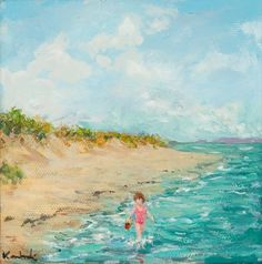 HENRY KONDRACKI BEACH GIRL  oil on canvas, signed 13cm x 13cm Oil On Canvas, Beach, Painting, The Beach, Painted Canvas, Seaside, Painting Art, Paintings, Oil Paintings