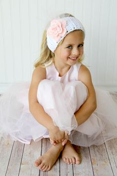 Romantic roses for the two little girls of my heart.  Excited that their sitting in my room just waiting for that special occasion to wear.  white with Pink Large Rose and tulle  eawarmer head band lots of colors avail. adjustable earwarmers toddler, child, teenager ladies, woman, $18.99