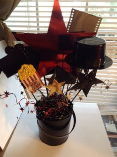 Movie Night Hollywood Theme Party Quinceañera Table Centerpiece Decoration ( Back View ) Colors: Black-Red-Gold