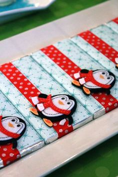 Winter Onederland | CatchMyParty.com *I like this idea. Scrapbook paper, or even gift wrapping paper, just remove the original label first. Customize for any season or event by using different stickers or embellishments.*