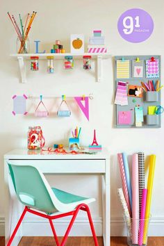 Great color mix! Neons & Pastels. Adorable girl pastel workspace | 10 Brilliantly Bright Neon Kids Rooms - Tinyme Blog