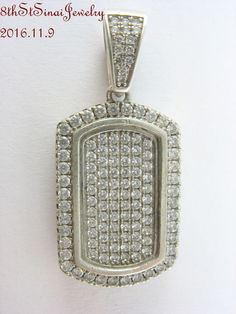 "Sterling Silver 925 Pave set Cubic Zirconia Dog Tag Pendant 1-3/8""L #Unbranded #PendantDogTag"