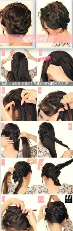 Cute Second Day #Hairstyles | How to Mesh Crown #Braid Tutorial Video #style #hair #braided #updos #updo #prom #wedding