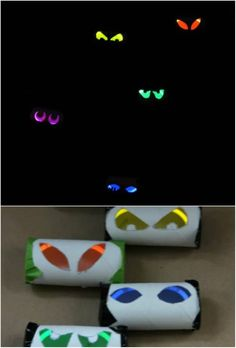 25 Gruesome DIY Haunted House Props To Make Your Halloween The Scariest Ever Scary Glowing Evil Eyes- using toilet paper roll, with a glow stick inside Halloween Prop, Halloween Garage, Theme Halloween, Halloween Birthday, Outdoor Halloween, Holidays Halloween, Halloween Crafts, Halloween Witches, Happy Halloween