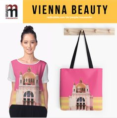 Fashion und Accessoires mit der Kirche am Steinhof in Wien. Kirchen, Man, Reusable Tote Bags, Vienna, Outfit, People, Fashion, Saints, Art Nouveau