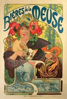 """Alphonse Mucha (1860-1939). Poster for """"Bières de la Meuse"""". 1897. Colour lithograph. Mucha Museum - Prague - Czech Republic"""
