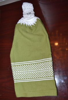 crochet top kitchen towel  Olive Green with by creatingwithni