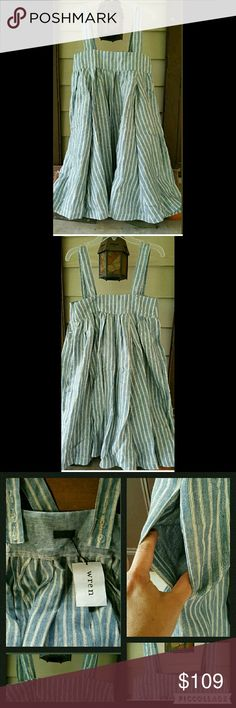 ❌SOLD❌✌ WREN Pinafore Swing Trapeze Tent Dress Bnwt WREN Pinafore striped linen blend dressadjustable straps on back. Pls note this is a HUGE dress ..it is fitted at top, other than that it is a swing/tent shape. Sooo cute ..unfortunatley the top (which is under the arms ) is too tight for me =( I have a 34 B bust for reference..it is tagged a sz XS and if ur an XS ON TOP but a bigger size on bottom this should work just fine 4 u although I suggest this for smaller busted Chicas..if bust…
